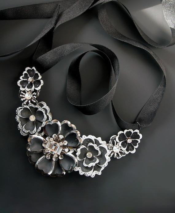 Night Flowers Statement Necklace. Repurposed Vintage Rhinestone Jewelry.