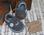 WASHABLE WOOL LITTLE BUTTON LOAFERS size newborn 0-3 months READY TO SHIP