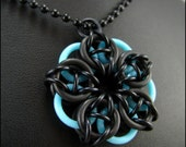 Chainmaille Pendant Glow in the Dark Black Blue Celtic Star Only A Few Left