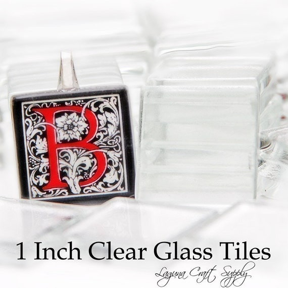 100 CRYSTAL CLEAR 1 INCH SQUARE GLASS TILES - FOR PENDANTS, MAGNETS CUFFLINKS AND MORE.  WORKS FABULOUSLY WITH 3 D CRYSTAL LAQUER AND OUR SILVER PLATED BAILS AND CHAINS