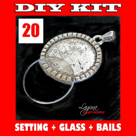 25mm Antique Silver DIY Pendant Setting Kit - 20 Settings, 20 Glass Cabochon Dome Inserts, 20 Bails