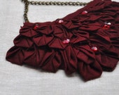 Pomegranate Origami Fabric Necklace - Ready to Ship