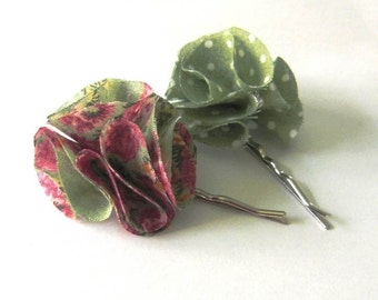 SALE - Sweet Sage blossoms bobbypins - set of  2 pcs (Ready To Ship)