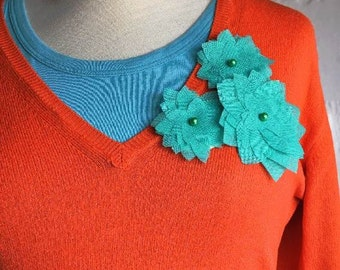 SALE -3 in 1 Fabric Flower Accessories in Turquoise Color - Necklace - Headband - Brooch (Ready To Ship)