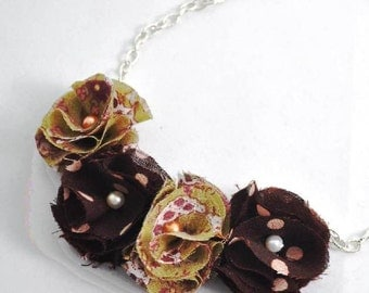 SALE -Autumn blossoms fabric flower necklace (Ready To Ship)