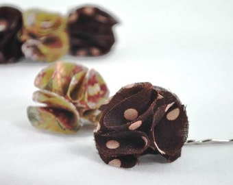 SALE - Autumn blossoms bobbypins in brown shades - Set of 2 pcs (Ready To Ship)