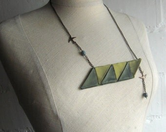 Green Geomatric Fabric Necklace - Ready To Ship