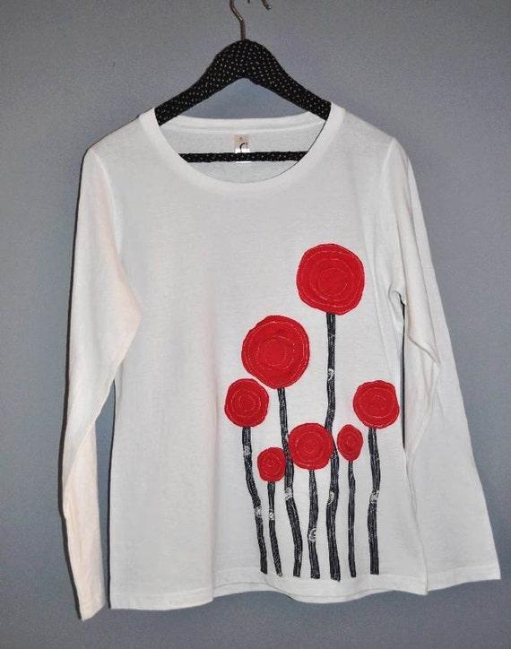 Poppy Love Longsleeves White T-shirt - XL Size (Ready To Ship)