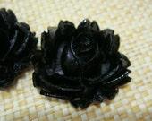 4 pcs Black Rose Cabochon