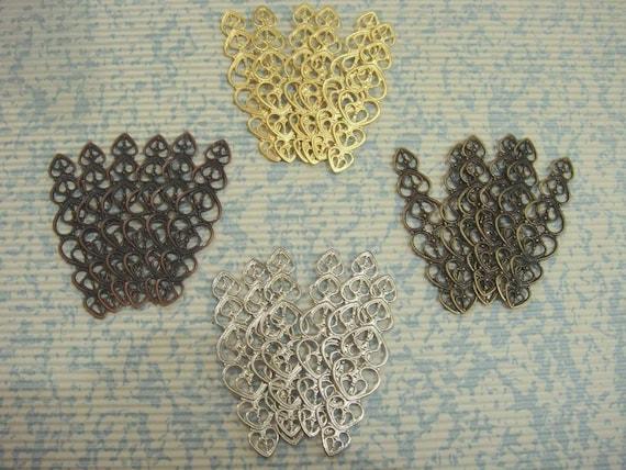 SPECIAL SET - 24 pcs Heart Pattern Filigree for Ring Base