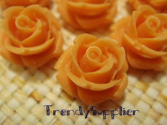 8 pcs Persimmon Mini Rose Bud Cabochons (014-25)