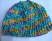 Silky Hand Dyed Rayon, Crocheted Women's Beanie Hat - Lagoon 84B