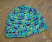 Womens Crocheted Hand-Painted Egyptian Cotton Summer Beanie Hat - 102B