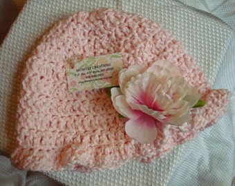 Pretty Peony Flower Hand-Stitched Soft, Pure Cotton Women's Hat with Brim - 82B