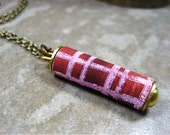 Plaid Necklace-Raisin and Pink Plaid-School Days-One of a Kind Scroll Necklace-Jewelry for Her