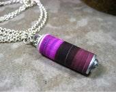 Stripe Scroll Necklace Plum Grape Raisin Stripes One of a Kind-Juicy Plum