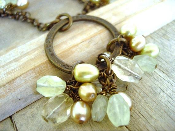 Prehnite and citrine gemstone necklace with freshwater pearls handmade gemstone jewelry