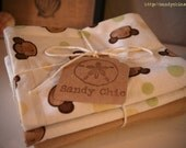 Set of 4 Baby Burp Cloths - Monkey Print with Brown Flannel (2)