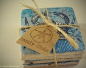 Tumbled Marble Coasters - Blue Crab