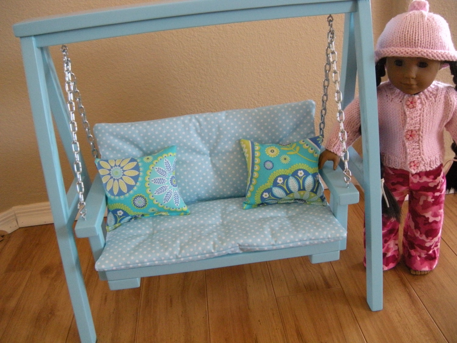 Available In February Doll Swing Set With Cushion Amp Throw