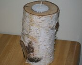 Birch Wood Candle Holder - 3 1\/2 inches