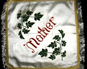 vintage linen ... Retro KITSCH Cushion Cover to MOTHER ... fun fun fun