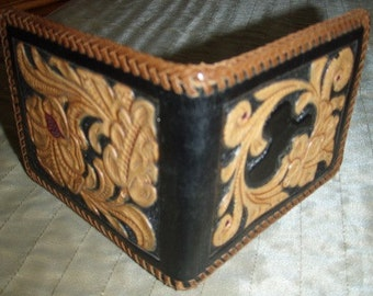 Vintage western COWGIRLBOY Tooled LEATHER WALLET ... cowboy cowgirl fun