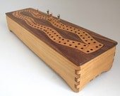 Wooden Cribbage Board with Storage Box