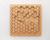 Wooden Honeycomb Puzzle . Geometric Shapes Puzzle - Red Oak - Hexagon Cluster Pieces . Timber Green Woods