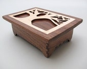 Tree of Life Keepsake Box in Black Walnut Wood with Maple Inlay Hinged Lid