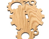 Steampunk Industrial Gear Themed Switch Plate Cover made from Sustainable Harvest Red Oak Wood . Timber Green Woods