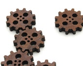 """Steampunk Clock Gear Wood Buttons 1"""" - Laser Cut from Sustainable Harvest Wisconsin Wood - Timber Green Woods"""
