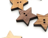 Wood Buttons - Six Star Buttons Laser Cut from Sustainable Harvest Wisconsin Wood . Timber Green Woods