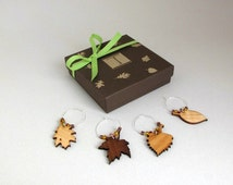 Leaf Wine Charm Gift Box Set - Laser Cut Wood Leaf Charms made from Sustainable Wisconsin Woods . Timber Green Woods