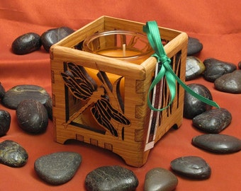 Dragonfly and Cattails Wood Votive Candle Holder - Sustainable Harvest Wisconsin Wood . Timber Green Woods