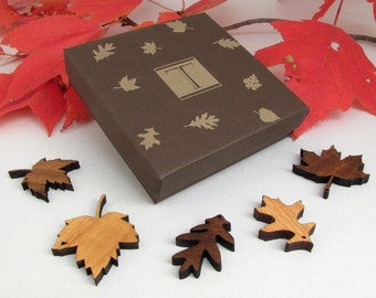 Mini Wood Leaf Ornament Gift Box Set of 5 - Sustainable Harvest Wisconsin Wood . Timber Green Woods