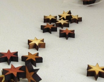 "Laser Cut Mini Wooden Stars  Itsies - 1/2"" Six Point Star Charms by Timber Green Woods"