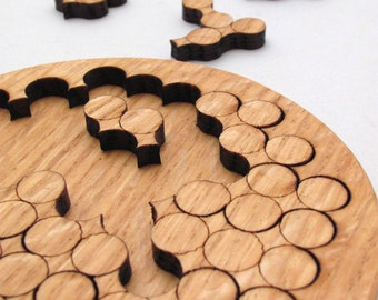 Wooden Circles Geometric Puzzle - Red Oak Laser Cut Wood Jigsaw Puzzle - Sustainable Wisconsin Wood - Timber Green Woods