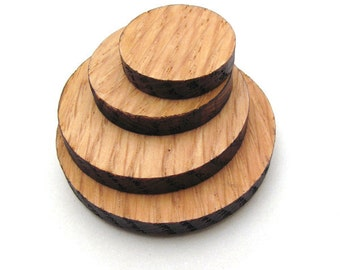 Wood Circles made from Red Oak - Laser Cut Wood - Sustainable Harvest Wisconsin Wood - Timber Green Woods, USA