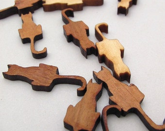 "Mini Cat Charms - 1"" Long Laser Cut Mini Wood Cats - Pack of 15 - Assorted Woods -  Timber Green Woods Sustainable Forestry Products"