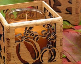 Festive Autumn Pumpkin Votive Wood Candle Holder . Red Oak American Hardwood . Timber Green Woods