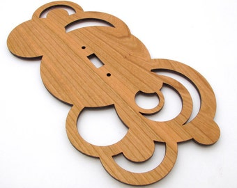 Wood Switch Plate Cover - Modern Rustic Circles - made from Sustainable Harvest Black Cherry Wood . Timber Green Woods USA!