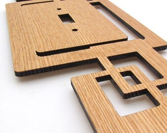 Modern Rustic Squares Wood Switch Plate Cover made from Sustainable Harvest Red Oak Wood . Timber Green Woods