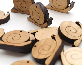 Spring Snails Mini Charms - Itsies - Laser Cut Wood -  Pack of 15 - Timber Green Woods Sustainable Wood Products - Cherry Wood.