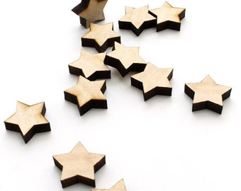 Laser Cut Mini Wooden Stars - Itsies - Pack of 15 Tiny Stars in Assorted Woods - Charms by Timber Green Woods, USA