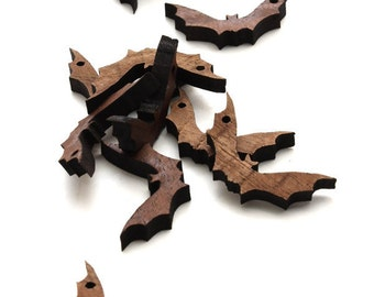 Halloween Mini Bat Beads - Itsies - Laser Cut Wood Bats   Timber Green Woods Sustainable Forestry Products