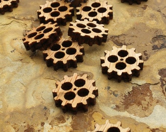 """Mini Wooden Steampunk Clock Gears Itsies 3/4"""" with Four Cutouts - Charms by Timber Green Woods"""