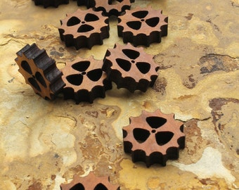 """Steampunk Mini Wood Clock Gear 3/4"""" (.75"""") with Three Cutouts - Pack of 15 - Itsies - Black Cherry Wood Charms by Timber Green Woods"""
