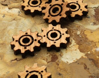 "Wood Clock Gear Beads Steampunk Minis .75"" with Center Cutout -  Itsies - Oak Wood Charms by Timber Green Woods"