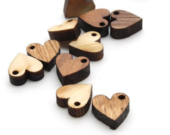 Laser Cut Mini Wooden Heart Beads - Itsies - Heart Charms by Timber Green Woods . Sustainable